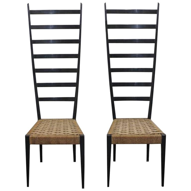Pair of Mid-Century Italian Otto Gerdau Co.,1950s, a pair of Spinetto side chair 1
