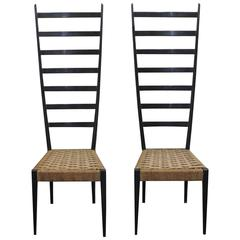 Pair of Mid-Century Italian Otto Gerdau Co.,1950s, a pair of Spinetto side chair