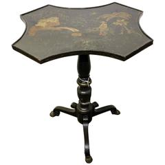Charming English Regency Candle Stand Black Lacquer with Chinoiserie Decoration