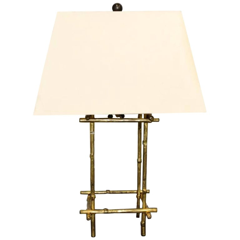 12 Stick Table Lamp by Mattaliano with 22 Gold Leaf Finish For Sale
