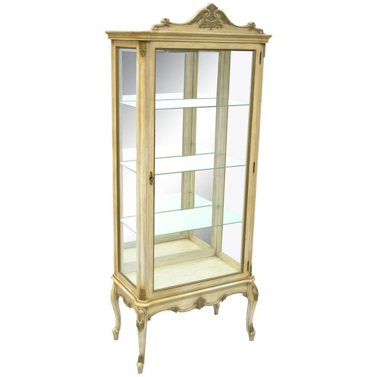 Vintage French Louis XV Style Mirror & Glass Étagère Display Curio Small  Cabinet For Sale - Vintage French Louis XV Style Mirror And Glass Étagère Display Curio