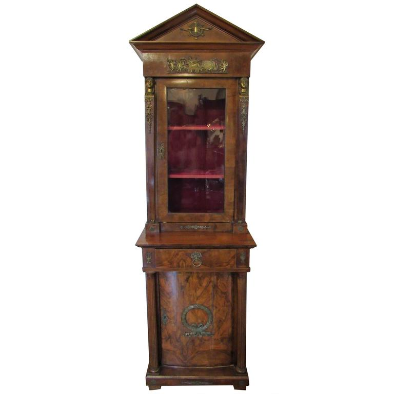 French Empire Cabinet 19th Century, Mahogany with Ormolu Mounts