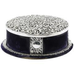 Sterling Silver Floral Vine Purple Velvet and Silk Tiara Diadem Crown Box