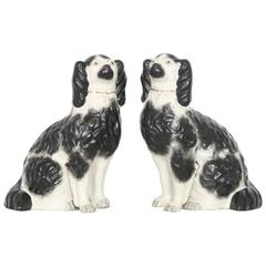 Large Pair of Staffordshire Hand-Painted Porcelain Dog Figurines