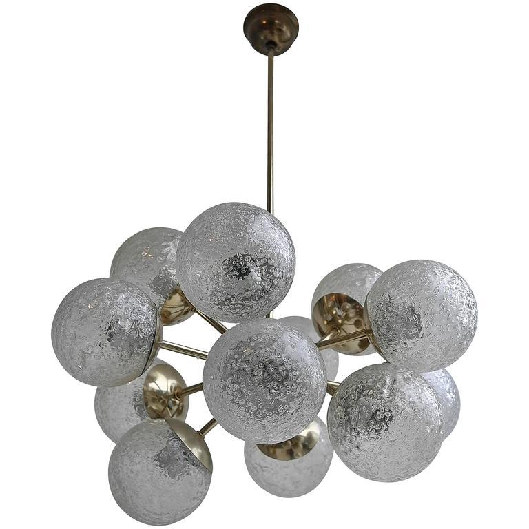 Sputnik Chandelier in Brass with Glass Balls, 1960s