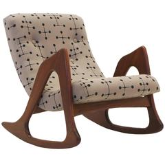 Adrian Pearsall Rocking Chair, Restored Including Eames Dot Fabric by Maharam