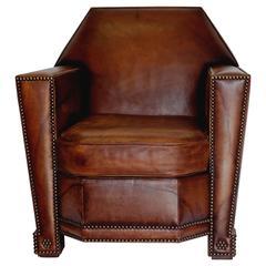 Art Deco Studded Leather Cigar Club Chair by Ralph Lauren