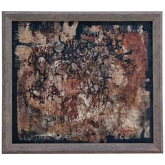 "Hiroshi Suzuki 1959 Abstract Painting Titled ""Human Being"""