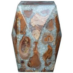 Wood and Crushed Resin Geometric Stool
