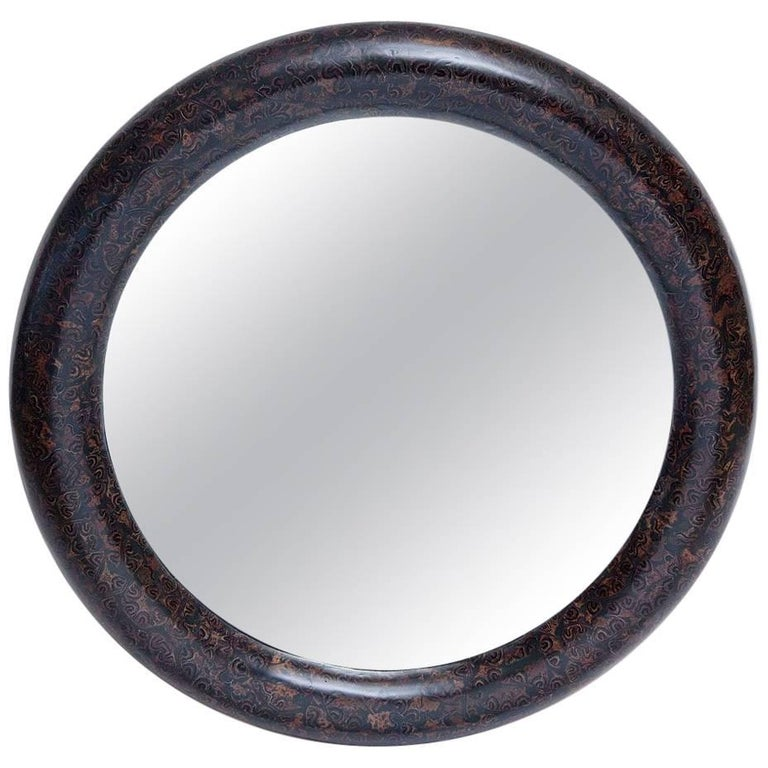 1980s Resin and Cork Inlaid Mirror by Enrique Garces For Sale