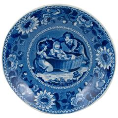Ralph & James Clews Staffordshire Blue Transferware Bowl, Family Dog in a Cradle