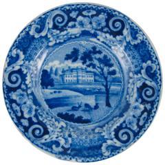 J&R Riley Blue & White Historical Transferware Cup Plate, Denton Park Yorkshire