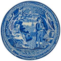 Blue and White Transferware Staple Repaired Cup Plate, the Farmer's Family