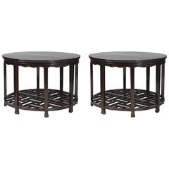 Pair of 19th Century Chinese Demilune 'Half Moon' Tables, Fretwork Base Panels