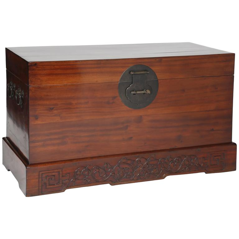 19th Century Chinese Camphor 'Zhang Mu' Fur Storage Chest on Stand with Rollers