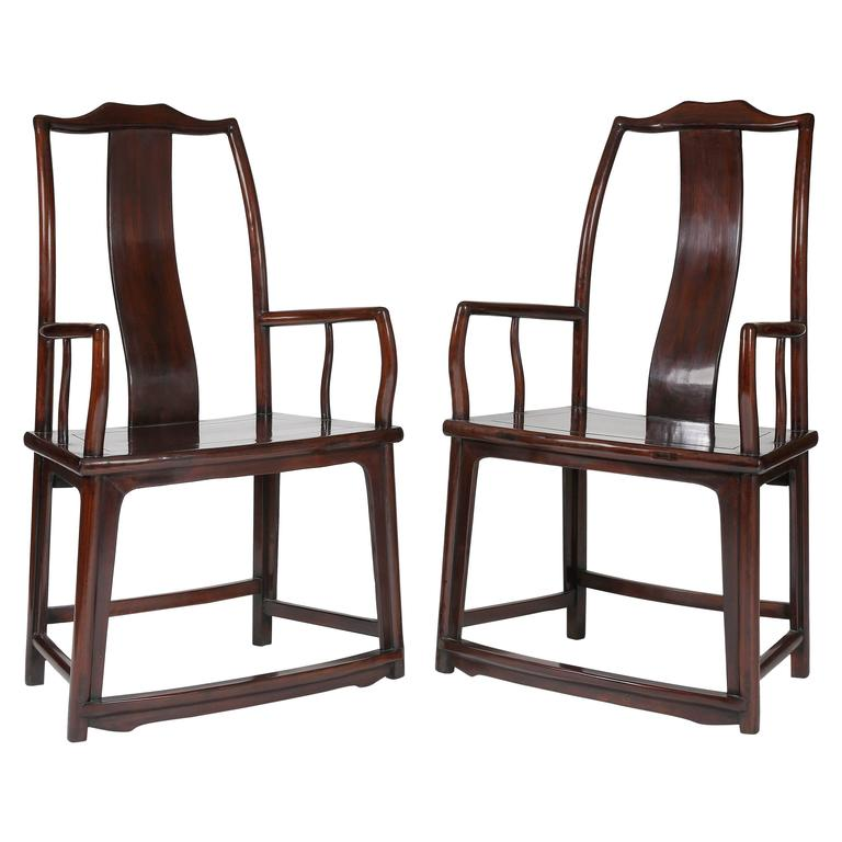 Pair of 19th Century Official's Hat Rectangular Back Armchairs, Fan Shaped Sea