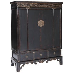19th Century Chinoiserie Cabinet, Black Lacquer with Gilt Relief-Carved Motifs
