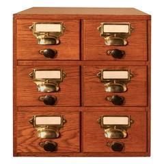 Oak Six Drawer Card Index Filing Cabinet, Wine Rack or Coffee Table