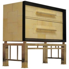 1950 Vitrified Parchment and Brass Italian Midcentury Chests of Drawers
