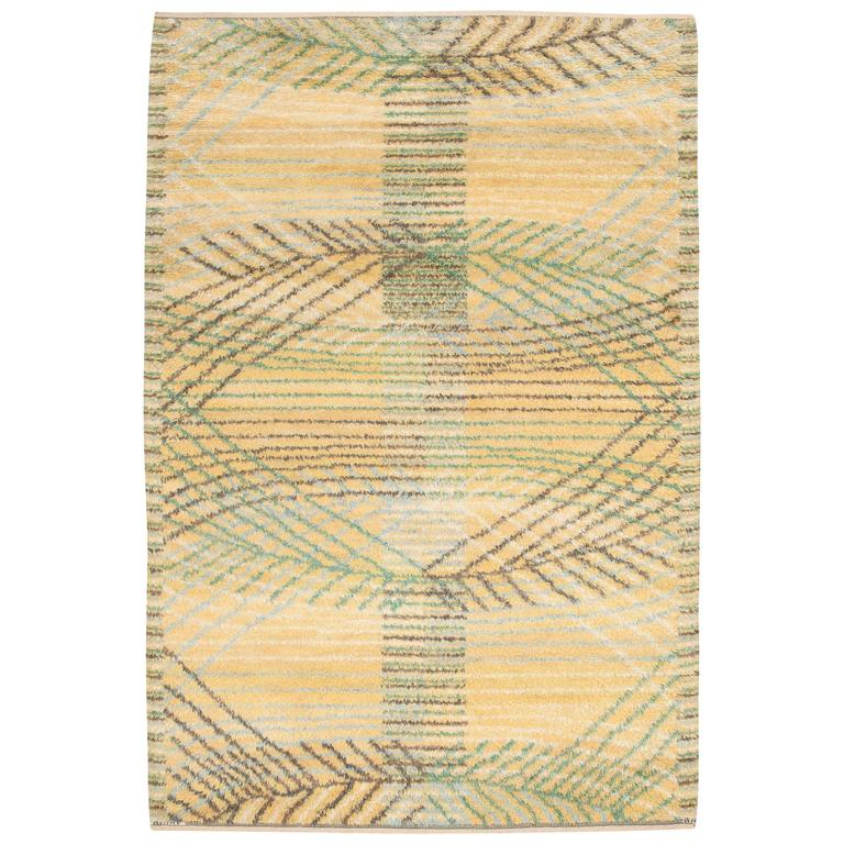 Swedish Rya Rug by Barbro Nilsson for Marta Maas-Fjetterström For Sale