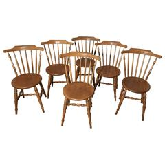Set of Six Beech and Ash Country Kitchen Dining Chairs