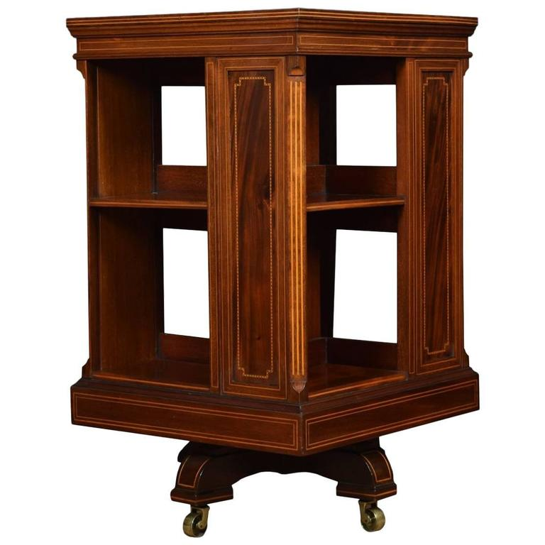 Edwardian Inlaid Revolving Bookcase