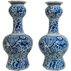 Pair of Blue and White Vases Attributed to Delft, circa 1900