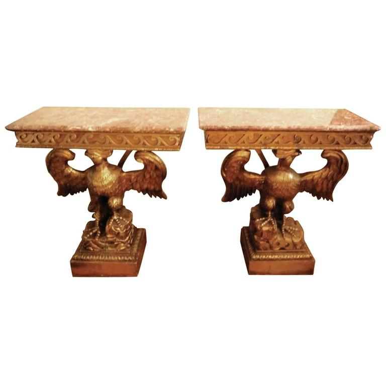 Elegant Pair of French Giltwood Consoles Side Tables Marble Topped