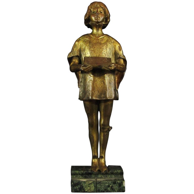 French Early 20th Century Gilded Bronze Sculpture by Ferdinand M. L. Delagrange For Sale