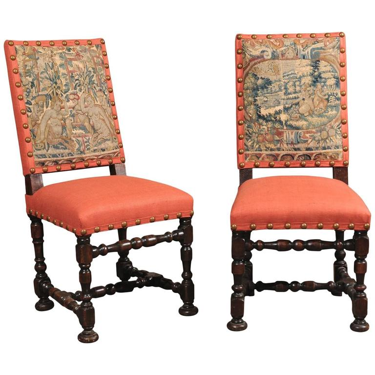 Pair of Louis XIII Style Oak Side Chairs, France 18th Century