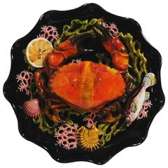 Majolica Palissy Crab Wall Platter Attributed to Vallauris, circa 1950