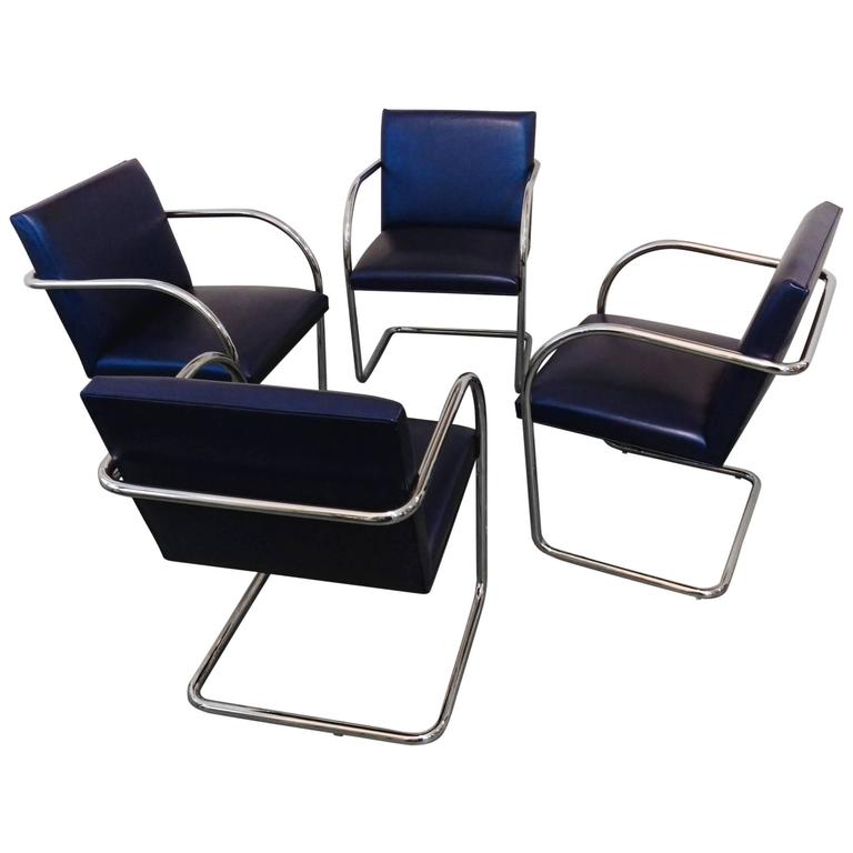 Set Of Four Vintage Brno Tubular Stainless Steel Chairs By Brueton, La  Porte For Sale