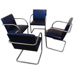 Set of Four Vintage Brno Tubular Stainless Steel Chairs by Brueton, La Porte