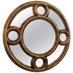 Patina Carved Giltwood Convex Wall Mirror by Baker