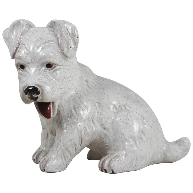 French White Terracotta Dog, circa 1950 For Sale