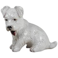 French White Terracotta Dog, circa 1950