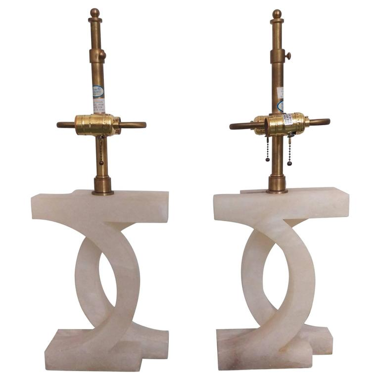 Pair of Italian Alabaster Table Lamps by Thomas Pheasant for Baker