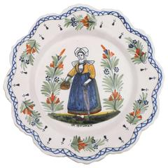 French Faience Plate Henriot Quimper, circa 1910