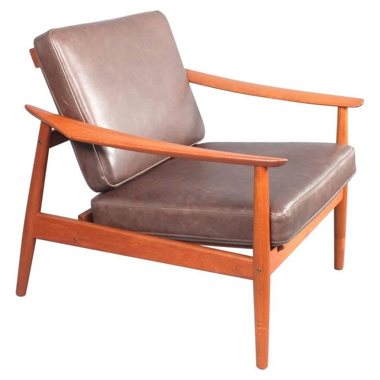 Delicieux Arne Vodder Teak Reclining Lounge Chair Model 164, France And Son, 1960s  For Sale