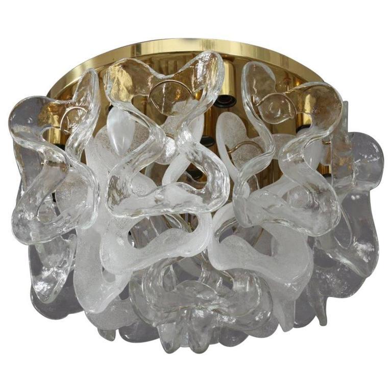 Charming Ceiling Crystal Glass Flush Mount by J. T. Kalmar, Austria, 1970