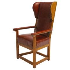 Biedermeier Vintage Cherrywood Wingback Chair, circa 1830 Austria