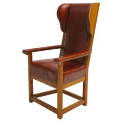 Biedermeier Austrian Cherrywood Wingback Chair, circa 1830
