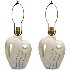 Pair of Stylish Alabaster Art Deco Table Lamps