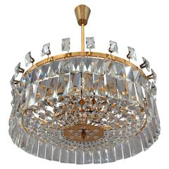 Huge Spectacular Crystal Glass Chandelier Oswald Haerdtl, Lobmeyer, Vienna, 1972
