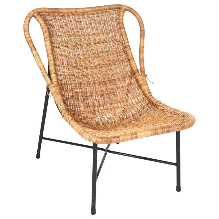 Rare Rattan Easy Chair Attributed to Kerstin Hörlin-Holmquist, 1950s