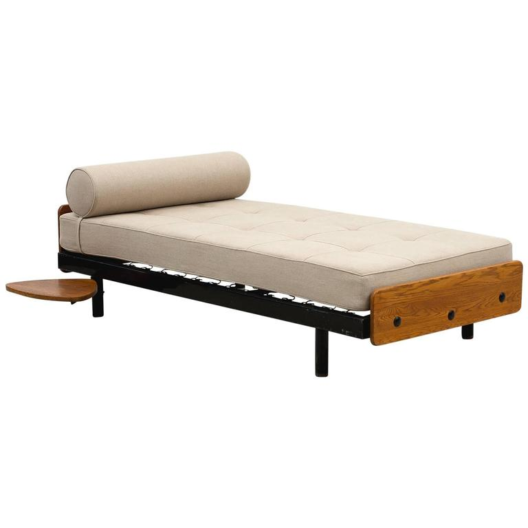 Rare S.C.A.L Daybed by Jean Prouve with Swivel Shelf, Charlotte Perriand, 1950s 1