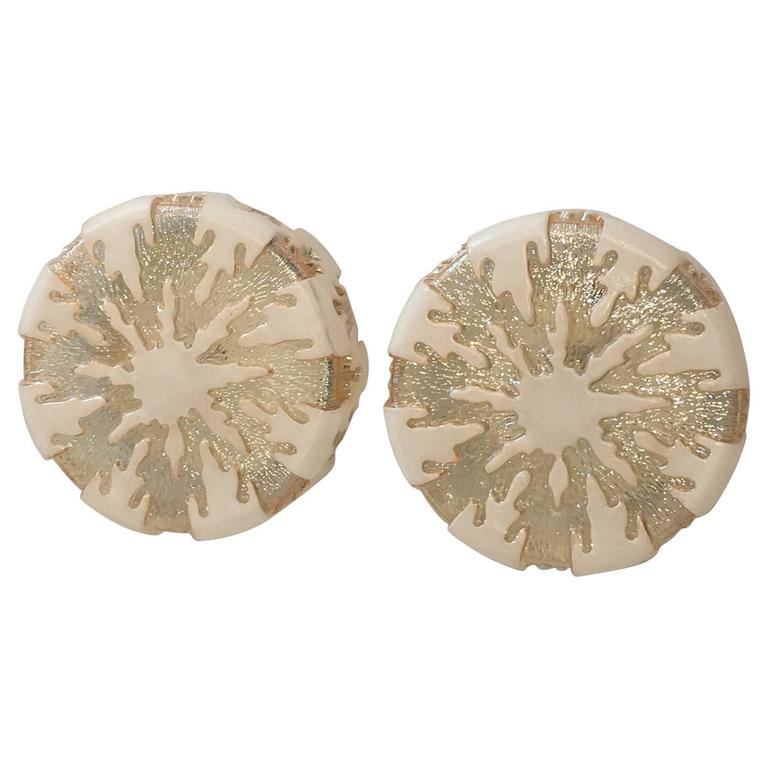 Pair of German 1970s Ice Crystal Glass Flush Mount For Sale