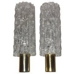 Pair of German Doria Glass Tube Sconces