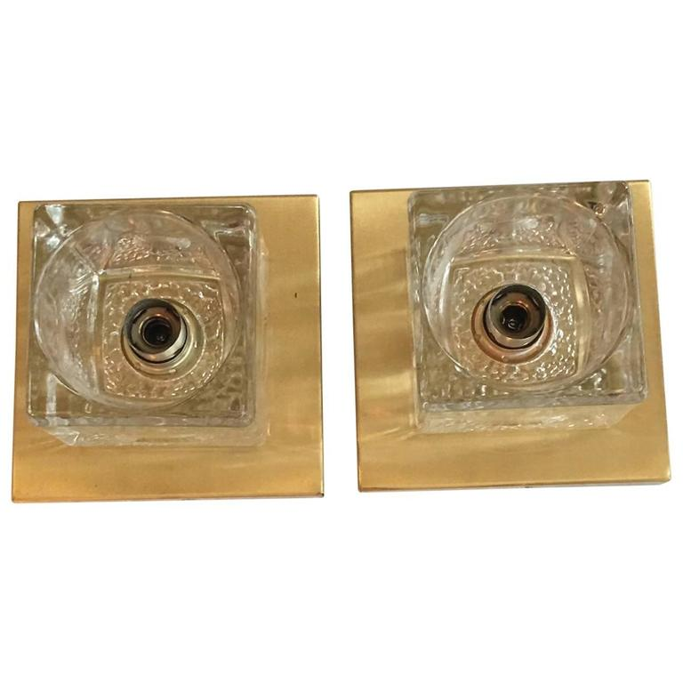 Pair of Brass Peill & Putzler Ice Cubes Glass Sconce