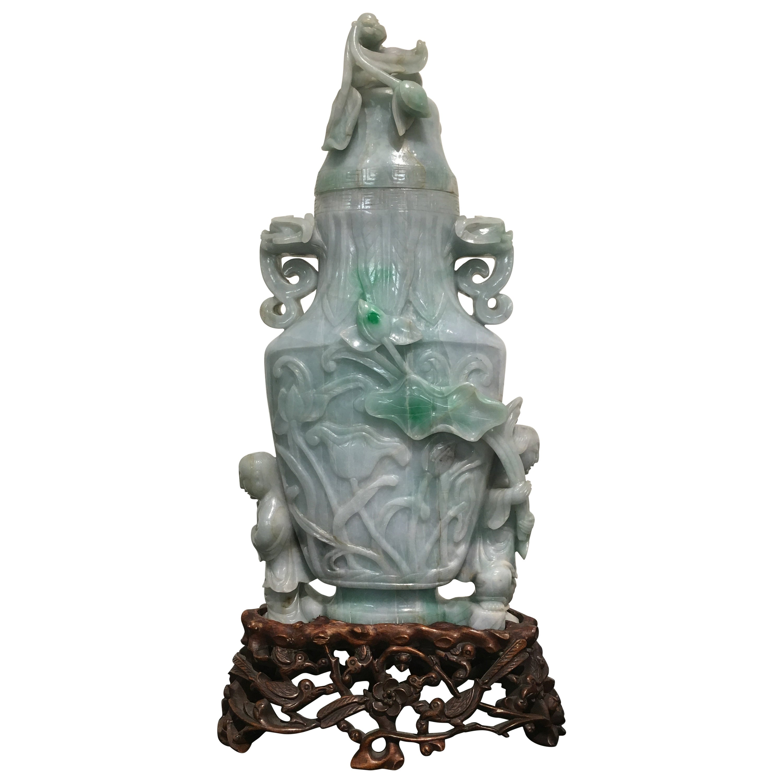 Large Early 20th Century Chinese Carved Jade Vase